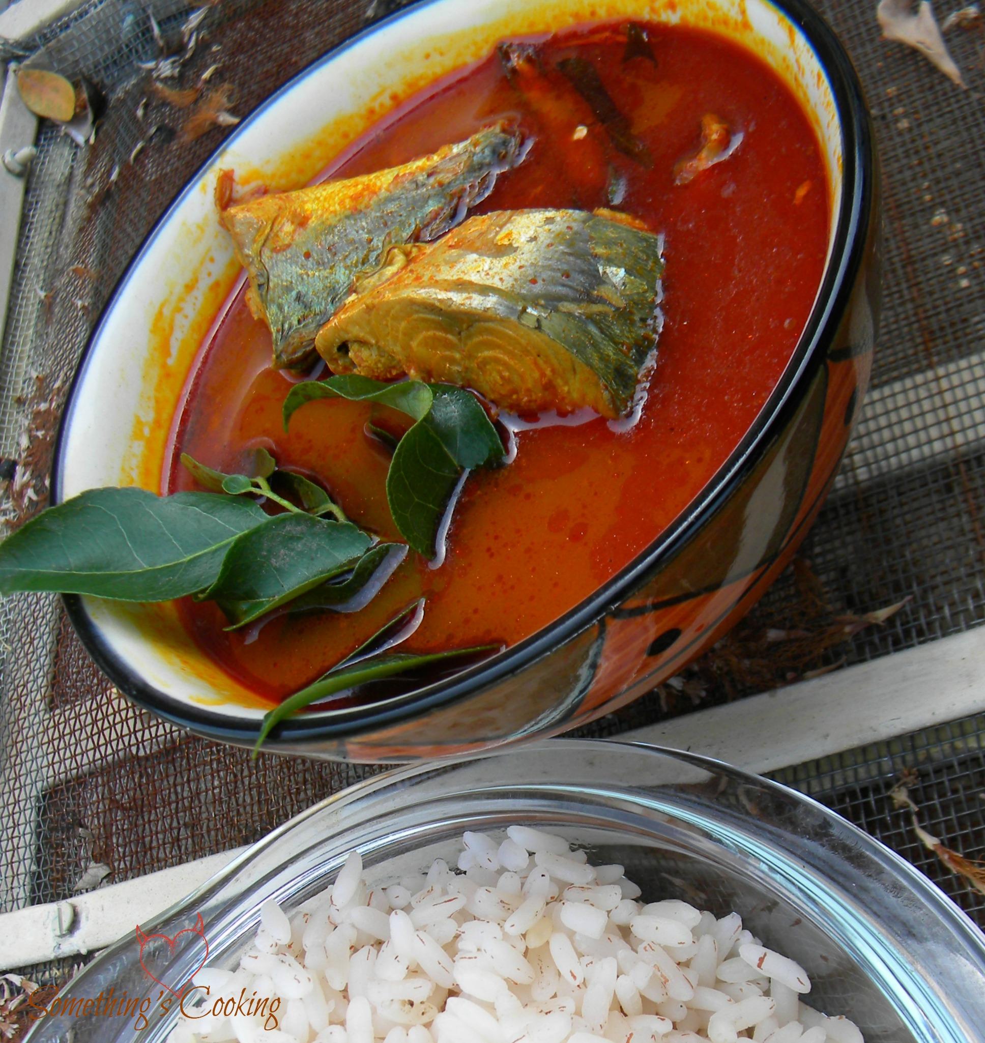 Mackerel Fish curry with boiled rice- Kerala Recipe